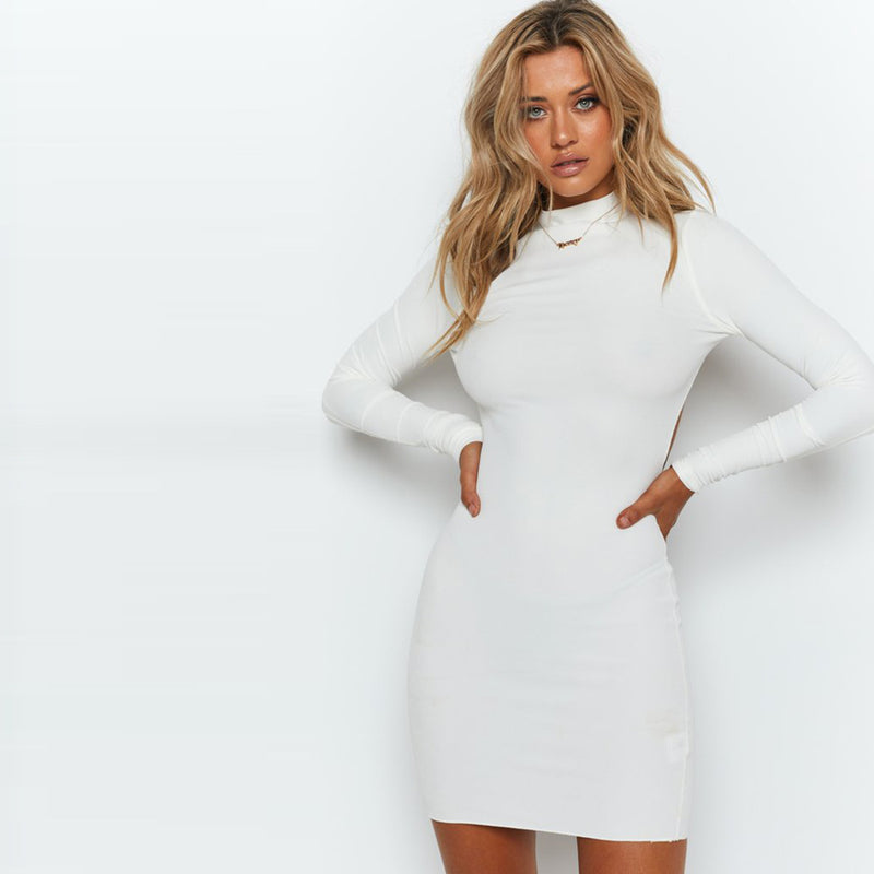 Long Sleeve Bodycon Stretch Backless Dress