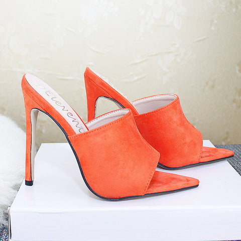 Suede Peep Toe Pointed Toe Sandals