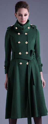 Stand Collar Button Belt Pleated Long Coat - Meet Yours Fashion - 1