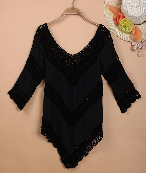 V-neck 3/4 Sleeves Hollow Bohemian Lace Chiffon Blouse - Meet Yours Fashion - 4