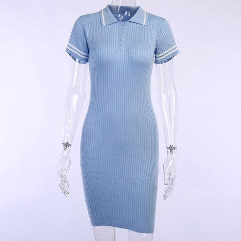Tight Polo Neck Ribbed Short Dress