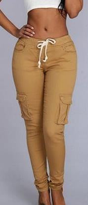 Drawstring Side Pockets High Waist Pure Color Casual Long Pants