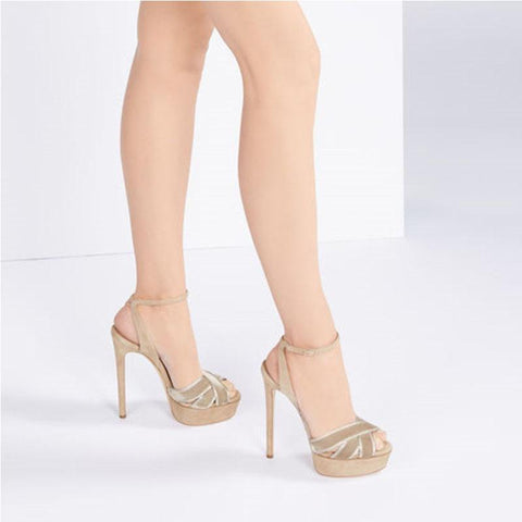 Summer Platform Suede Buckle Cutout High Heel Sandals