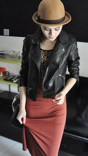 Women Black Zipper Moto Crop Slim Jacket - Meet Yours Fashion - 2