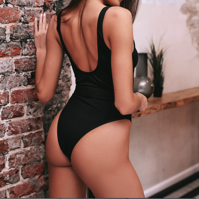 Plain Backless High Rise High Cut Swimsuit