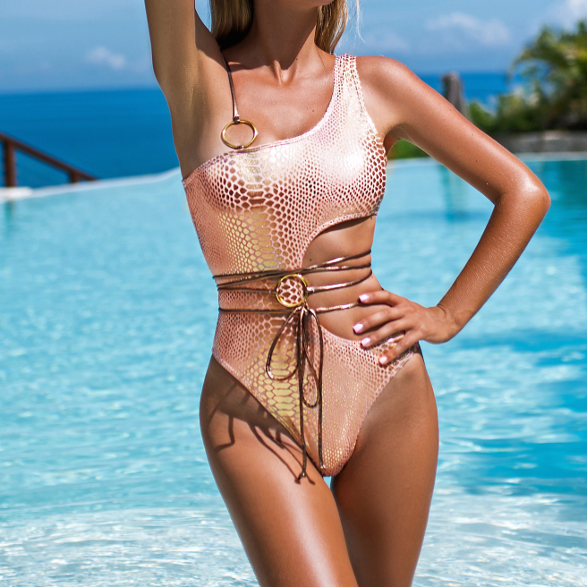 Sequin Cutout Strappy High Rise High Cut Swimsuit
