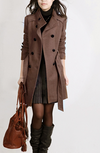 Double Breasted Stand Collar Belt Slim Long Plus Size Coat - Meet Yours Fashion - 1