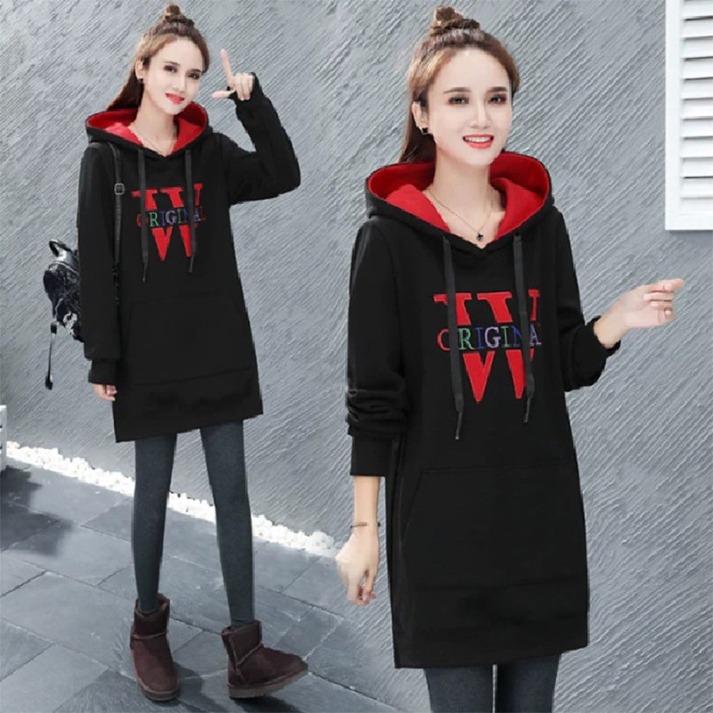 Winter Pullover Drawstring Letter Print Dress Hoodies