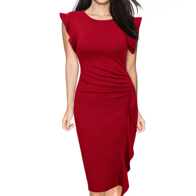 Pure-Color-Scoop-Ruffles-Knee-length-Pencil-Dress