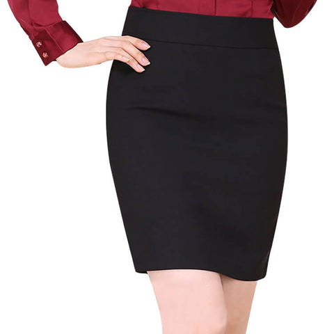 Plus Size Black Bodycon Hgih Waist Work Skirts