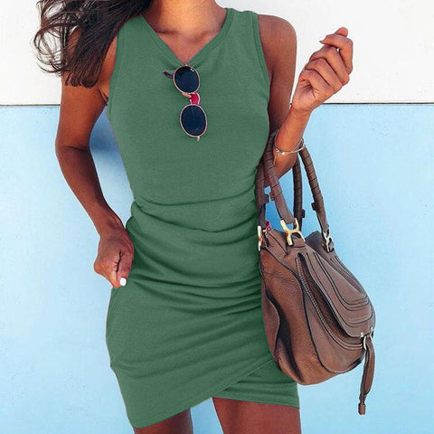 Sleeveless Pure Color Bodycon Short Dress