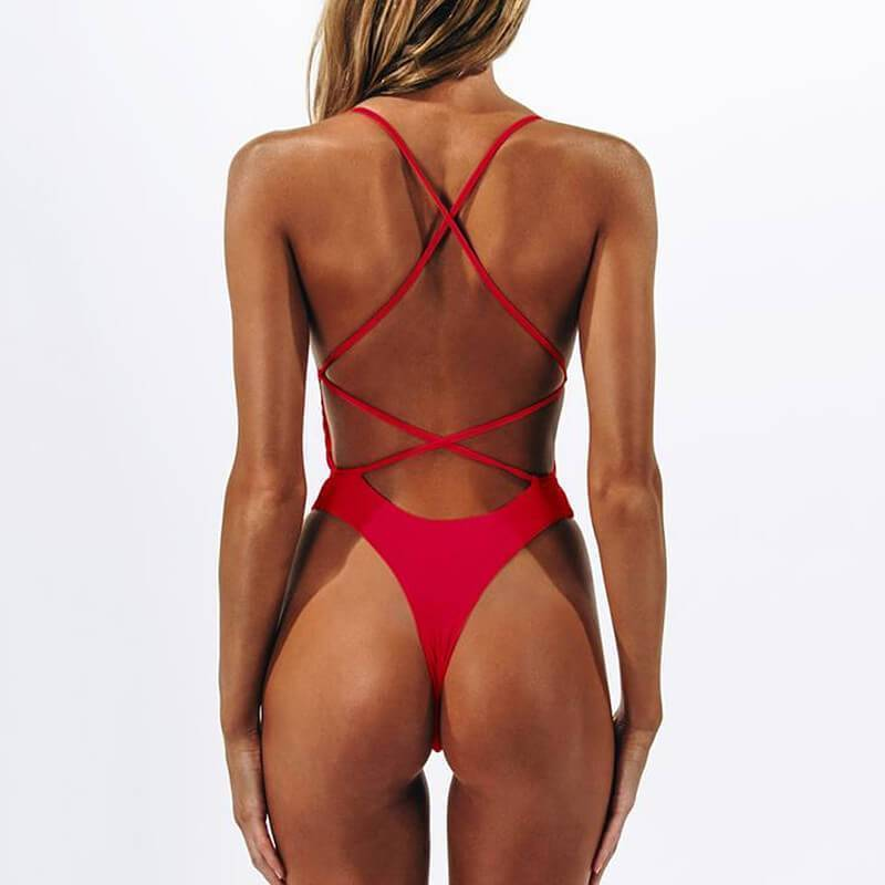 Low Back Bandeau V Neck Plain High Cut Swimsuits