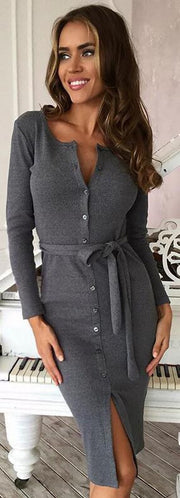 Sexy Button Scoop Long Sleeve Knee-length Dress With Belt