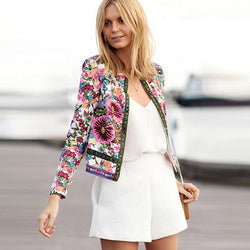 Scoop Zipper Flower Print Slim Short Coat - Meet Yours Fashion - 2