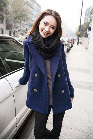 Double Breasted Lapel Solid Long Thick Coat - Meet Yours Fashion - 5