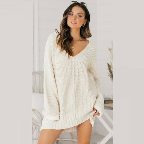 Oversized V Neck Crochet Long Sweater Dress