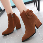 Chunky Heel Suede Buckle Pointed Toe Ankle Boots