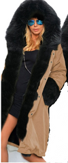 Zipper Hooded Faux Fur Cuff Long Cotton Coat - Meet Yours Fashion - 1