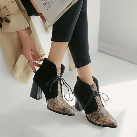 Leather Snakeskin Lace Up Chunky Heel Ankle Boots