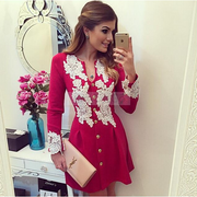 Lace Flower Button O-neck Long Sleeve Short Dress