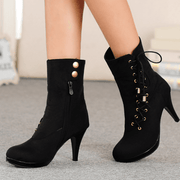 Lace Up High Heel Round Toe Suede Calf Boots