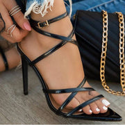 Summer PU Pointed Toe High Heel Buckle Sandals