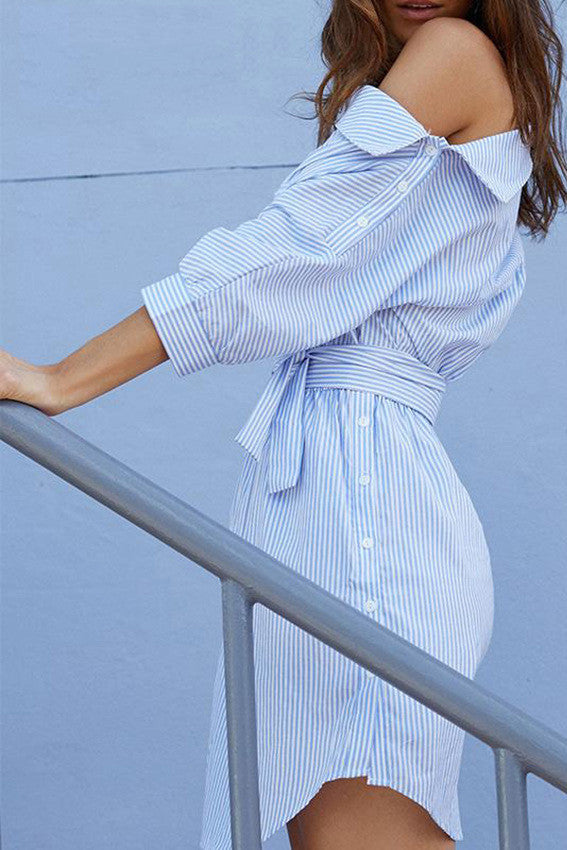 Oblique Neckline Half Sleeves Irregular Stripe Short Dress