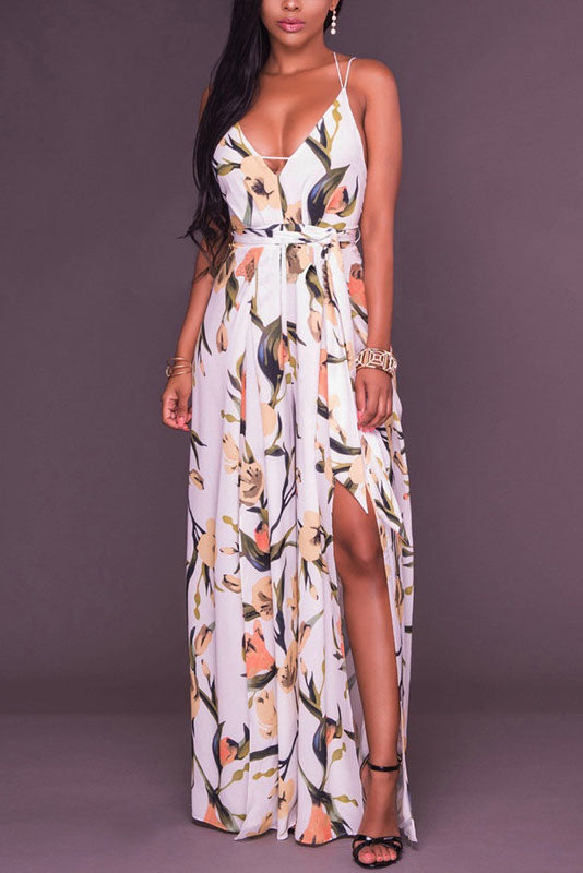 Deep V-neck Spaghetti Straps Print Split Long Jumpsuit