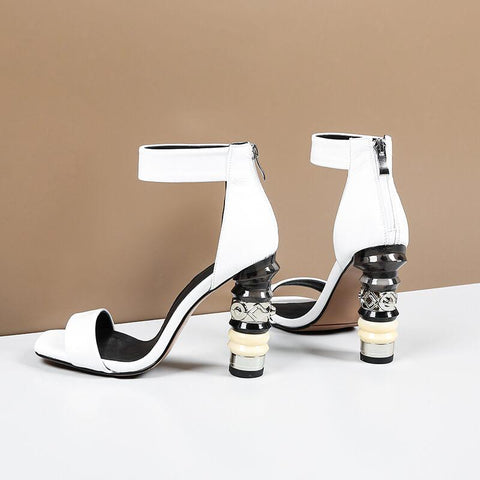 Summer Patent Leather Zipper Chunky Heel Sandals