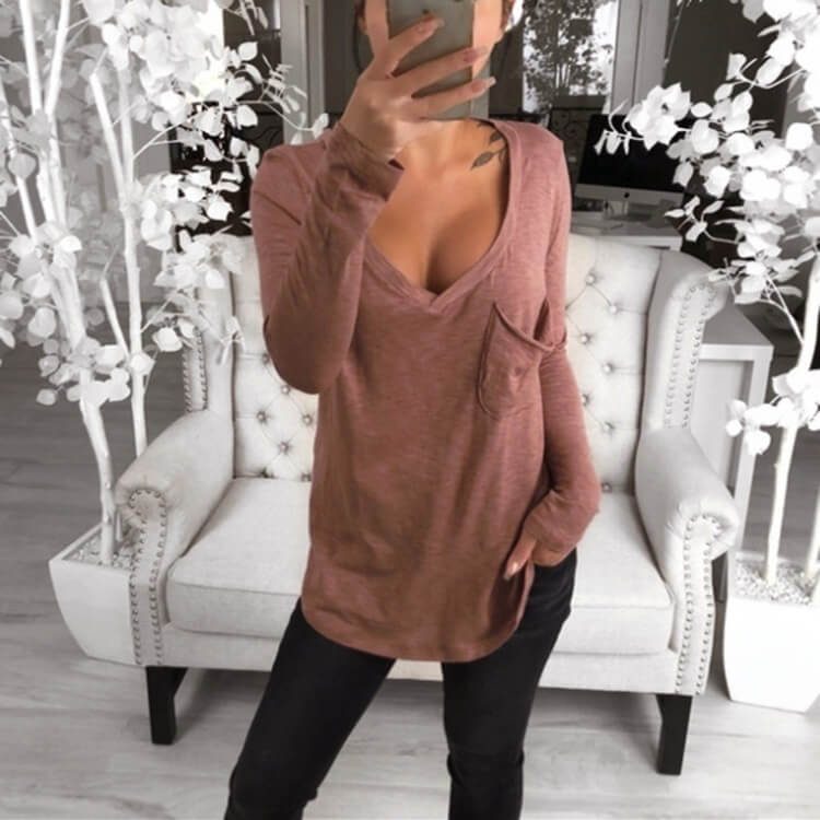 Loose Low Cut V-neck Blouse