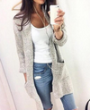 Fashion Long Cardigan Splicing Solid Color Sweater - Meet Yours Fashion - 1