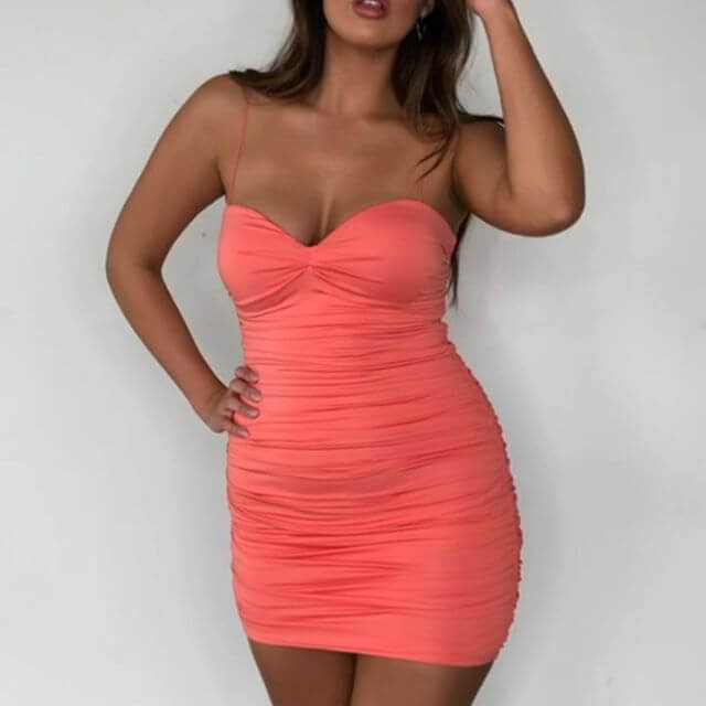 Spaghetti Strap Backless Bodycon Ruched Dress