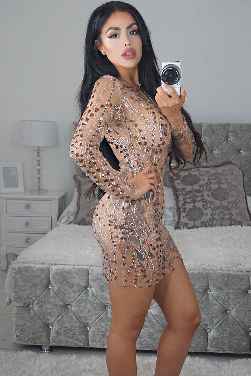 Long Sleeves Round Neck Sequins Short Bodycon Dress