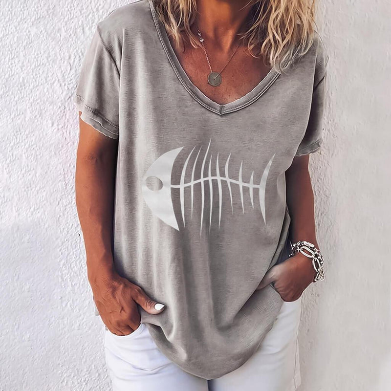 Fish Bone Loose V-neck T-shirt