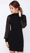 Slim Pure Color Splicing Backless Long sleeve Short Dress - Meet Yours Fashion - 3