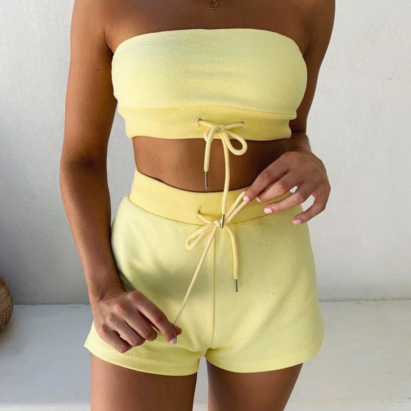 Strapless Straps Crop Top Shorts Set
