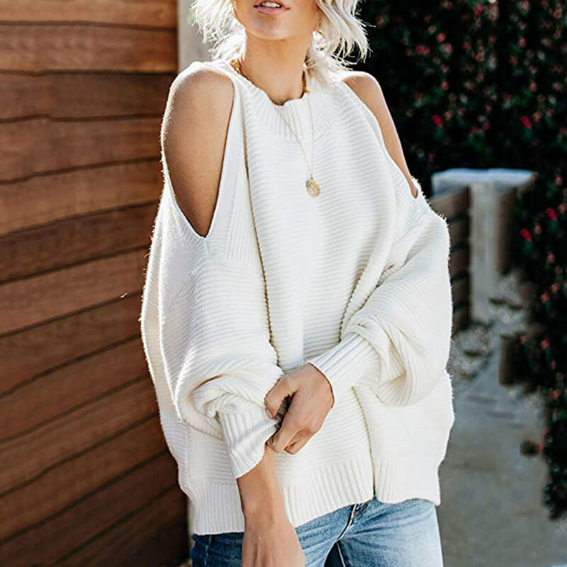 Cold Shoulder Loose Knitted Sweater
