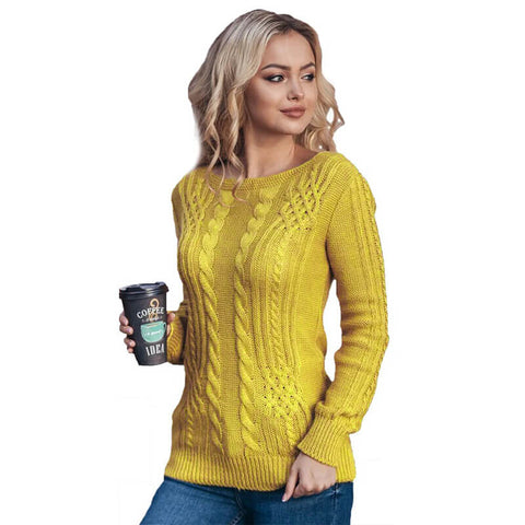 Solid Cable Knitted Pullover Sweater