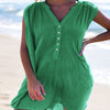 Beach Loose V Neck Button Sleeveless Dress
