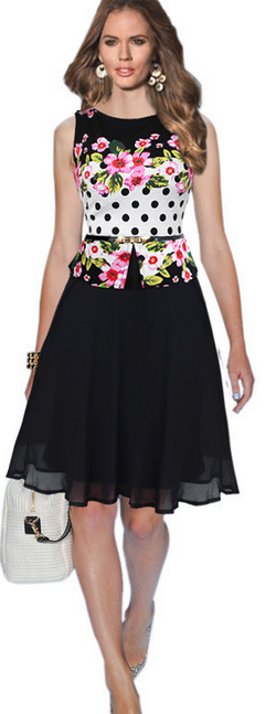 Chiffon Print O-neck Sleeveless Knee-length Dress
