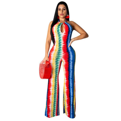 Halter Backless Summer Long Wide-leg Women Jumpsuit