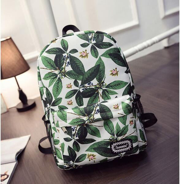 Green Leaves Print Fashion School Backpack - Meet Yours Fashion - 1