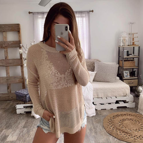 Hollow Out Crewneck Solid Knit Sweater