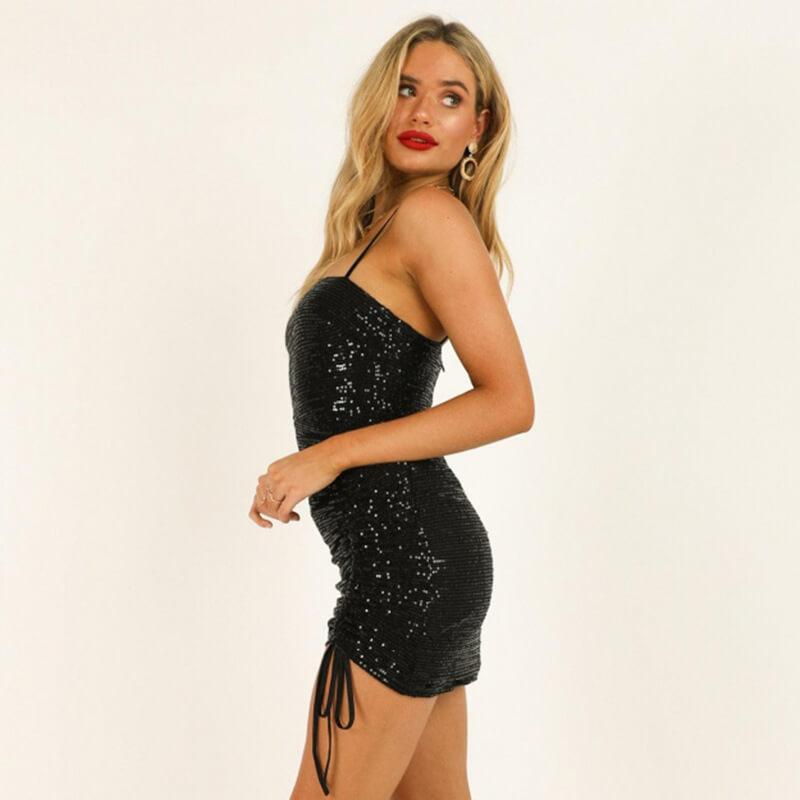 Sequin Ruched Sling Dress