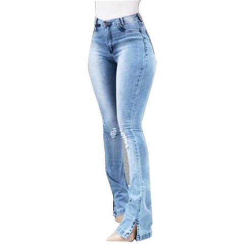 Flare High Waist Ripped Jeans Pocket Pants