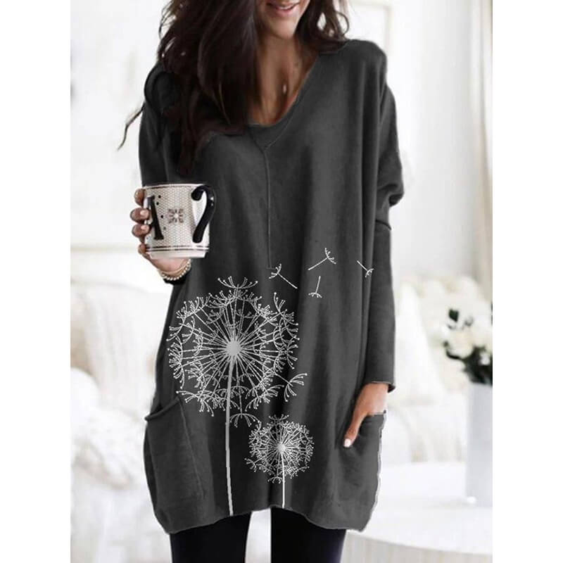 Print Loose Long Blouse