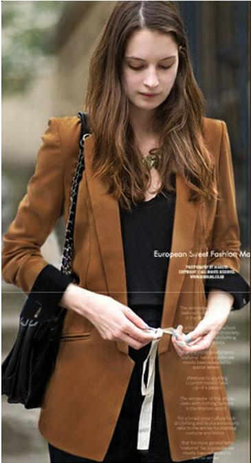 Deep V-neck Long Sleeves Brief Slim Blazer Coat - Meet Yours Fashion - 1