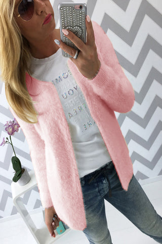 Long Sleeves Pure Color Scoop Open Cardigan
