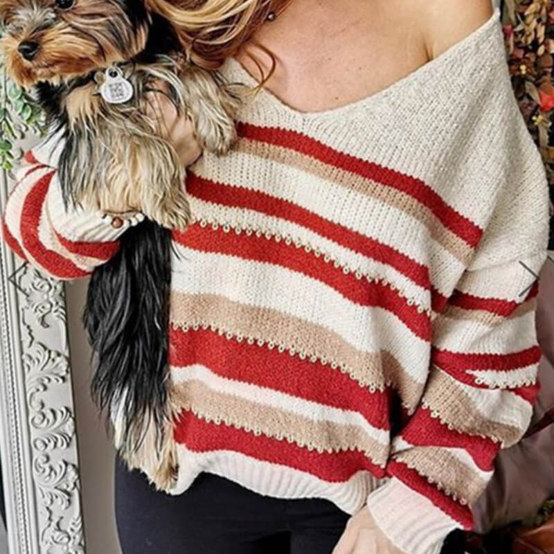 Red Striped V Neck Sweater