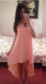 Solid Color Chiffon Sexy Sleeveless Irregular Scoop Dress - Meet Yours Fashion - 2